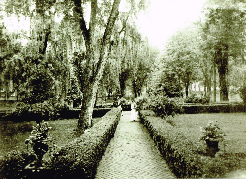 Looking down the front walk from the porch, circa 1900